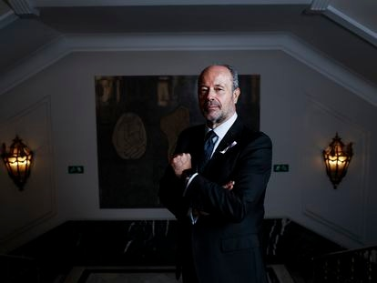 El ministro de Justicia, Juan Carlos Campo, en la sede de su departamento, durante la entrevista.