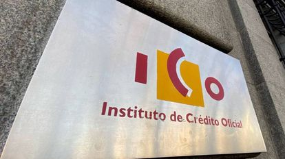 Fachada con el logotipo del Instituto de Crédito Oficial (ICO)