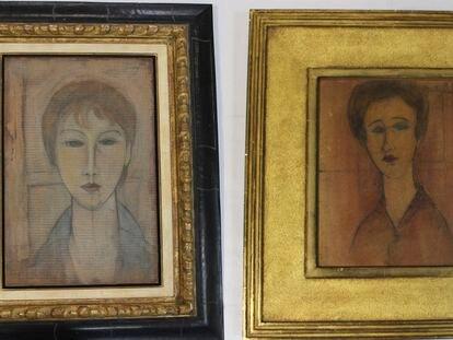 Dos obras falsas de Modigliani de las cuatro incautadas por la policia autonómica valenciana.