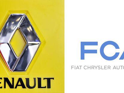 Los logos de Renault y Fiat-Chrysler.