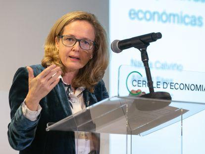 Nadia Calviño interviene en el Cercle d'Economia, en Barcelona.