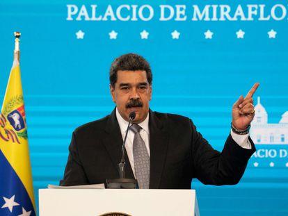El presidente venezolano Nicolás Maduro durante una conferencia de prensa en el palacio presidencial de Miraflores, este miércoles.