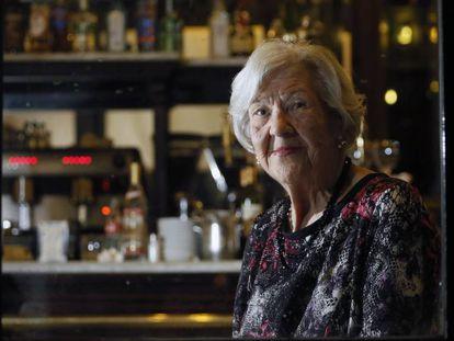 Leonor Machado, en un restaurante de Madrid en 2014, durante un homenaje por sus 90 años.