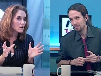 Isabel Díaz Ayuso y Pablo Iglesias en un programa de 'La Tuerka', en noviembre de 2012.
