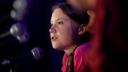 La activista sueca Greta Thunberg, en la ONU.