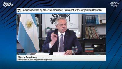 Captura de vídeo de la intervención del presidente de Argentina, Alberto Fernández, en el Foro Económico Mundial este jueves.
