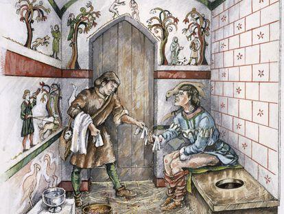 Recreación de una letrina inglesa de mediados del siglo XIV.
