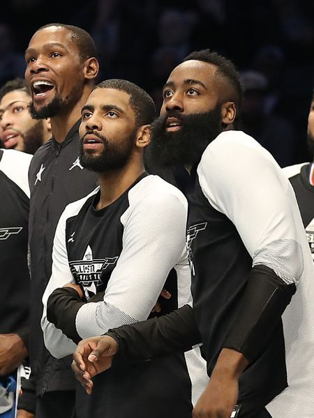 Durant, Irving y Harden, en el All Star de 2019.