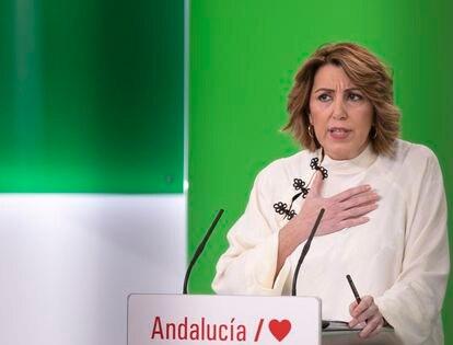 Susana Díaz, durante una rueda de prensa en enero.