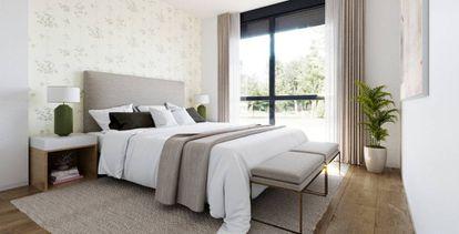 Dormitorio de una casa modular de Aedas Homes.