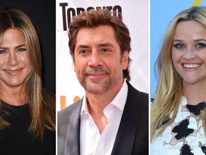 De izquierda a derecha: Jennifer Aniston, Javier Bardem y Reese Witherspoon.
