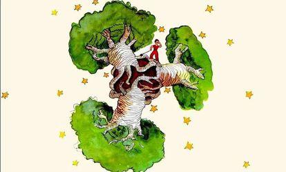 Ilustración de 'El Principito', con los baobabs devorando el planeta.