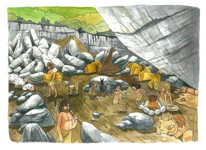Recreación de la vida neolítica en Atapuerca distribuida por la U. de Upsala.