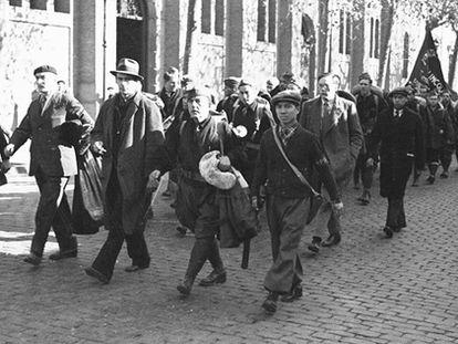 Imagen de la llegada de brigadistas internacionales a Barcelona.