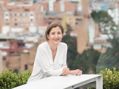 Ingrid Betancourt, en la terraza del piso 15 de un hotel en Bogotá, este jueves.