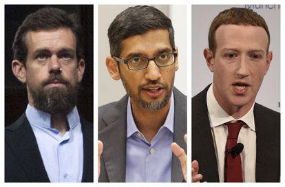 Collage de fotos del CEO de Twitter, Jack Dorsey; del CEO de Google, Sundar Pichai; y el CEO y fundador de Facebook, Mark Zuckerberg.