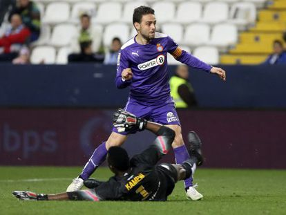 Sergio García, en el partido frente al Málaga.