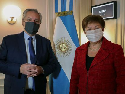 Alberto Fernandez y Kristalina Georgieva, este viernes en Roma.
