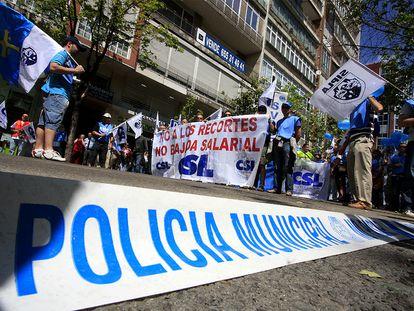 Manifestación de policías municipales en Madrid.