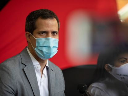 Juan Guaidó, durante una rueda de prensa, el 26 de mayo de 2021, en Caracas (Venezuela).