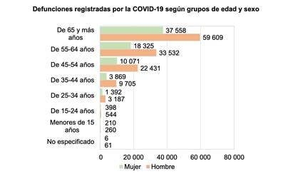 Defunciones registradas por covid-19 en México durante 2020 por grupo de edad.