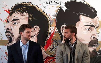 Pau y Marc Gasol en la presentacion del PauVSMarc.