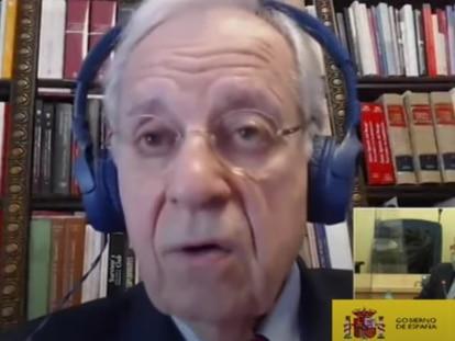 Jaime Ignacio del Burgo, el exdiputado del PP, durante su declaración por videoconferencia este martes.