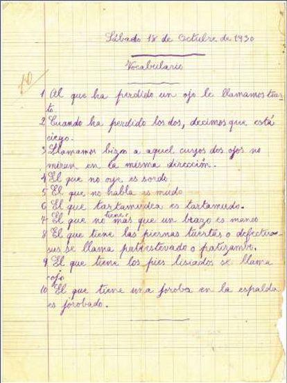 Una página del cuarderno escolar de Casares.