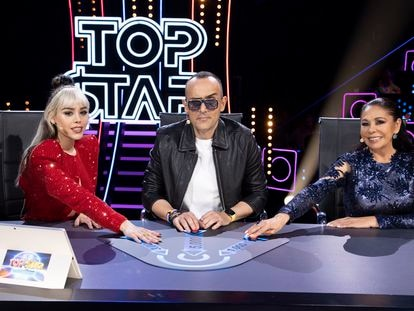 Danna Paola, Risto Mejide e Isabel Pantoja, jurado de 'Top Star'.