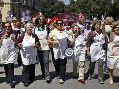 Protesta de trabajadoras del hogar en Valencia, en 2019.