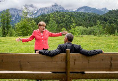 Merkel y Obama, en el G-7 en Krün (Alemania) el 8 de junio de 2015, en una imagen difundida por la Casa Blanca.