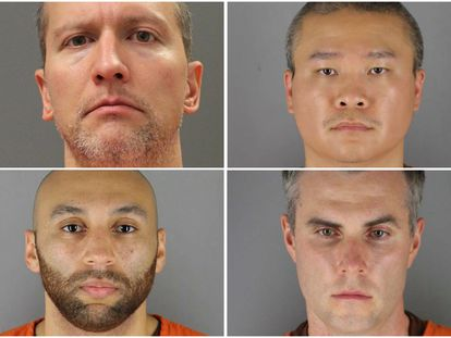 Los expolicías de Minneapolis involucrados en la muerte de Floyd: Derek Chauvin, Tou Thao, Thomas Lane y J. Alexander Kueng.