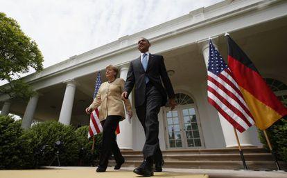 El presidente Barack Obama y la canciller Angela Merkel en el Rose Garden de la Casa Blanca.