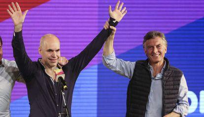 Rodríguez Larreta y Macri festejan su victoria en Buenos Aires.