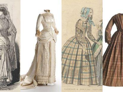 Desde la izquierda, láminas de un vestido de novia en 'La moda del correo de ultramar', traje de novia (1879-1882), lámina de The Ladies' Cabinet of Fashion Music and Romance y vestido de mañana (1840-1850).