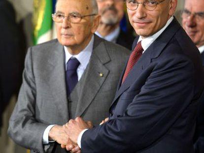 Letta y Napolitano, el pasado abril en el palacio del Quirinal.