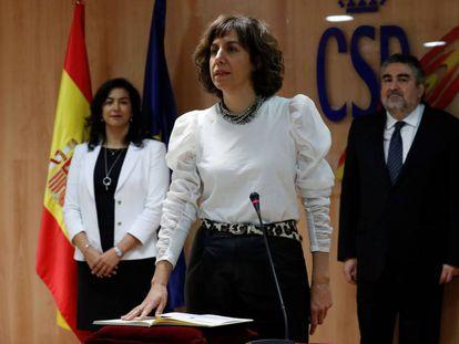 Irene Lozano promete su cargo ante su antecesora, María José Rienda, y el ministro Rodríguez Uribes.