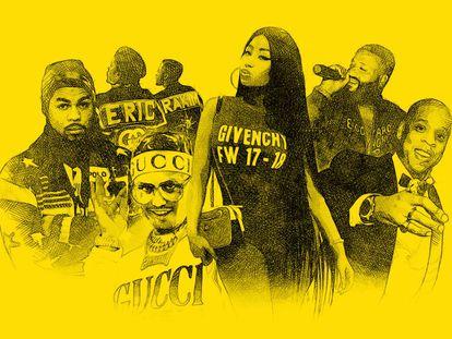 Just Blaze y Polo Ralph Lauren; las cazadoras de Dapper Dan para Eric B & Rakim; Lil Pump y sus cosas de Gucci; Nicki Minaj, anunciando un buen año para Givenchy; Dj Khaled y el Goyard de la discordia, y, claro, Jay Z saliendo del Louvre luciendo un Patek Philippe.