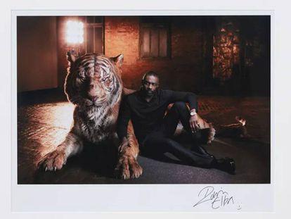 Idris Elba, en el retrato firmado por él mismo y realizado por Sarah Dunn que puede verse en la web de la casa de subastas.