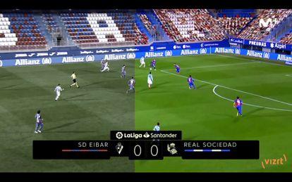 A la izquierda el Eibar-Real Sociedad sin público, tal como fue. A la derecha, gradas rellenadas de manera virtual.