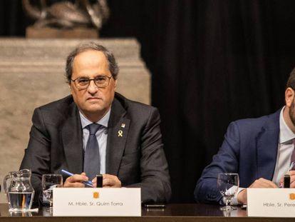 El presidente de la Generalitat, Quim Torra, y el vicepresidente, Pere Aragonès.