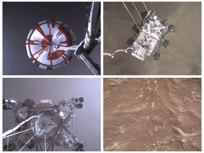 Combinación de imágenes que muestran el descenso a Marte del 'Perseverance'.