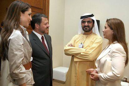 Haya de Dubái y  Mohamed Bin Rashid Al-Maktoum, con los reyes Abdalá y Rania de Jordania, en 2007.