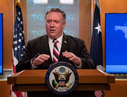 Mike Pompeo, el pasado marzo en una conferencia de prensa en el Departamento de Estado, en la ciudad de Washington.