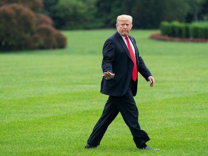 El presidente de Estados Unidos, Donald Trump, a su llegada a la Casa Blanca.