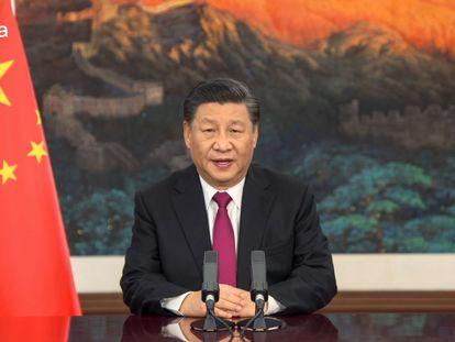 Captura de video de la intervención del presidente chino Xi Jinping este lunes ante el Foro Económico Mundial.