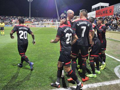 Los jugadores del Reus celebran el gol anotado en el Reus, 1- Numancia, 1 del pasado sábado.