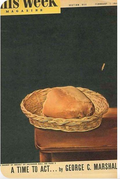 Portada de la revista 'The Week Magazine' de febrero de 1948 con 'La cesta de pan', obra de Dalí, para anunciar el Plan Marshall.