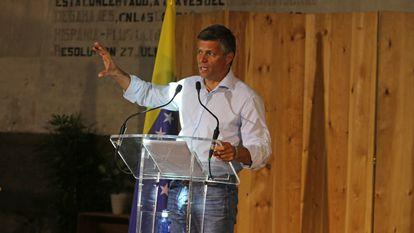El líder político Leopoldo López en rueda de prensa el 16 de julio en Madrid.