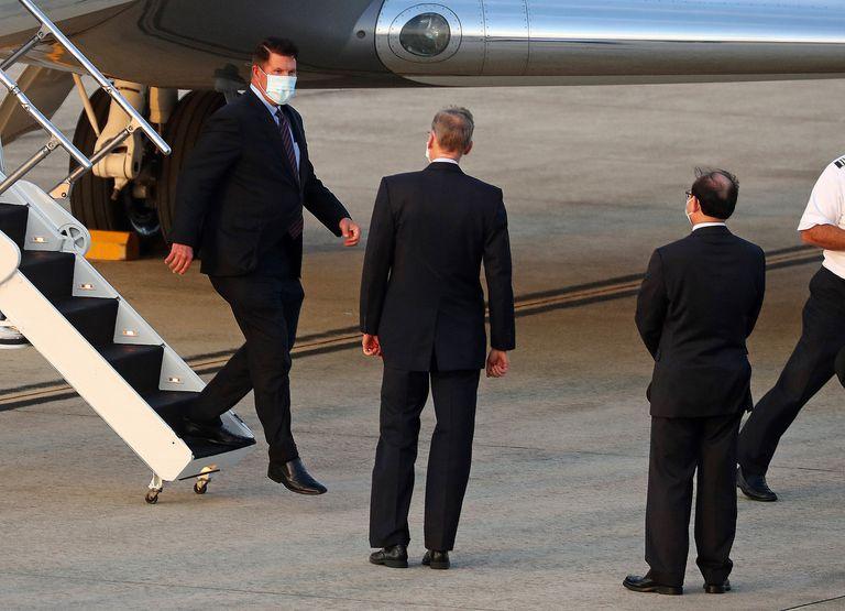 El subsecretario de Estado estadounidense Keith Krath, este viernes a su llegada a Taipéi.